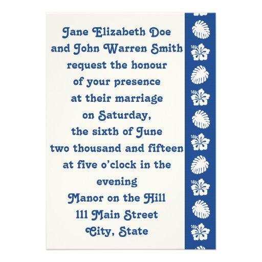 Tropical Hibiscus in Blue Wedding Invitation