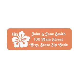 Tropical Hibiscus in Coral Return Address Label