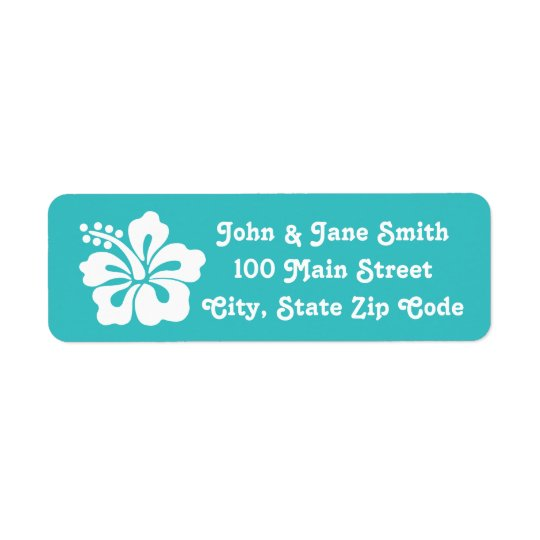 Tropical Hibiscus in Turquoise Address Label