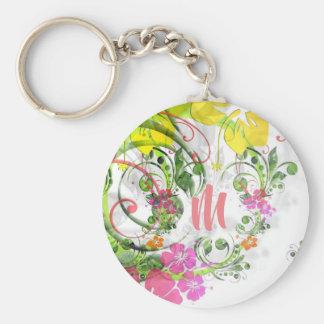 Tropical hibiscus monogram keychain