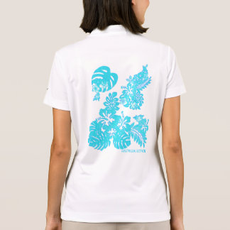 Tropical hibiscus monstera Vintage sky blue Polo Shirt