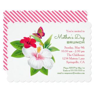 Tropical Hibiscus Mother's Day Brunch Party Card