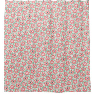 Tropical Hibiscus Pattern Shower Curtain