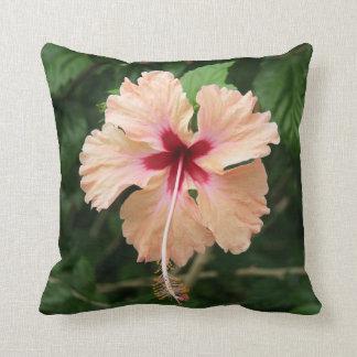 Tropical hibiscus Peach green Flower throw pillow Cushion