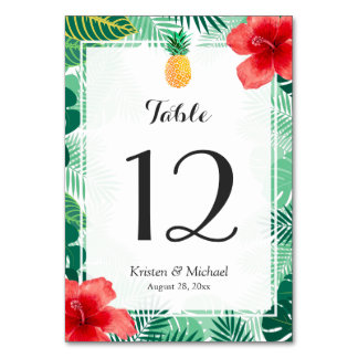 Tropical Hibiscus Pineapple Wedding Table Number