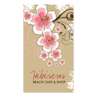 Tropical Hibiscus Pink Flower Vintage Modern Chic Pack Of Standard Business Cards