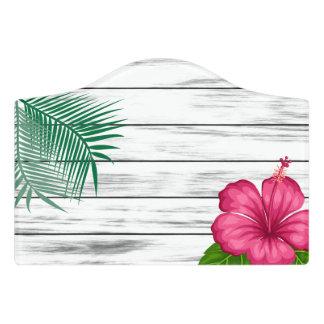 Tropical Hibiscus Pink Flowers Design Door Sign