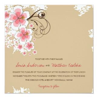 Tropical Hibiscus Pink Luau Beach Wedding Invite
