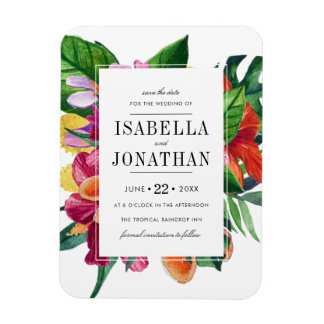 Tropical Hibiscus, Plumeria & Palm | Save The Date Magnet
