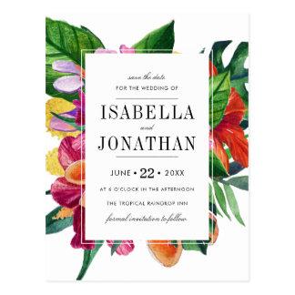 Tropical Hibiscus, Plumeria & Palm | Save The Date Postcard