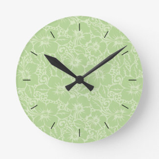 Tropical hibiscus round clock