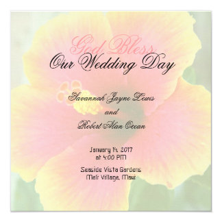 Tropical Hibiscus Square Wedding Program Template 5.25x5.25 Square Paper Invitation Card