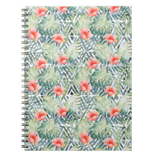 Tropical Hibiscus Tribal Floral Notebook