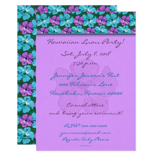 Tropical Hibiscus Turquoise and Purple Card