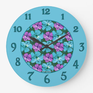 Tropical Hibiscus Turquoise and Purple Large Clock