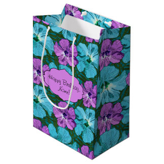 Tropical Hibiscus Turquoise and Purple Medium Gift Bag