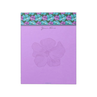 Tropical Hibiscus Turquoise and Purple Notepad