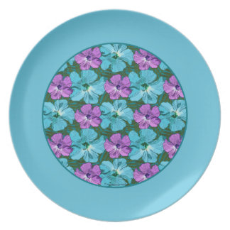 Tropical Hibiscus Turquoise and Purple Plate