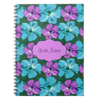 Tropical Hibiscus Turquoise and Purple Spiral Notebook