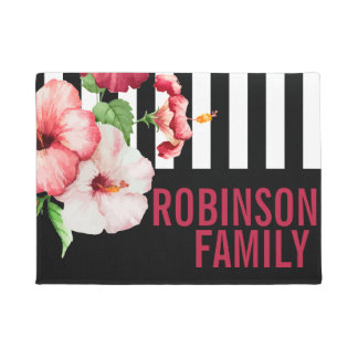 Tropical Hibiscus Vintage Florals Bold STRIPE Text Doormat