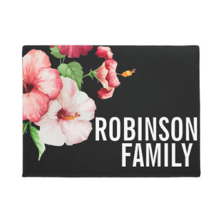 Tropical Hibiscus Vintage Florals Bold Text Doormat