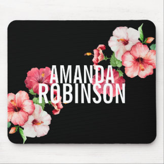 Tropical Hibiscus Vintage Florals Bold Text Mouse Pad
