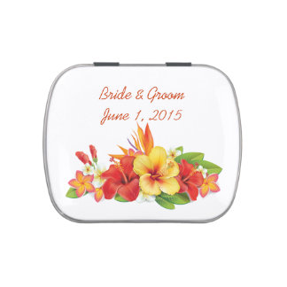 Tropical Hibiscus Wedding Candy Tins