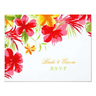 Tropical Hibiscus Wedding RSVP card 11 Cm X 14 Cm Invitation Card