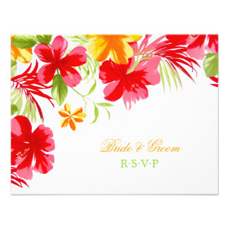 Tropical Hibiscus Wedding RSVP card Personalized Invitations