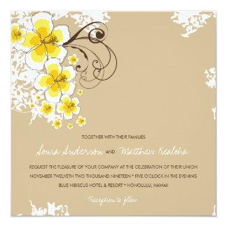 "Tropical Hibiscus Yellow Beach Luau Wedding Invite 5.25"" Square Invitation Card"