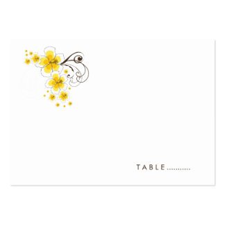 Tropical Hibiscus Yellow Beach Wedding Place Card Business Card