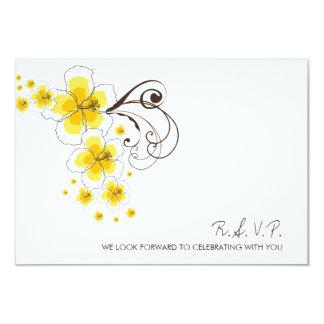 "Tropical Hibiscus Yellow Beach Wedding RSVP Reply 3.5"" X 5"" Invitation Card"