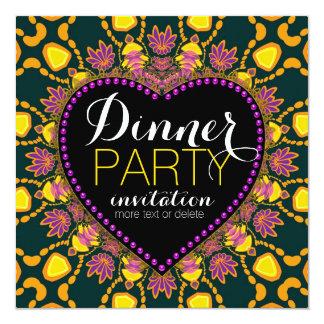 Tropical Hippie Love Batik Dinner Party Invitation