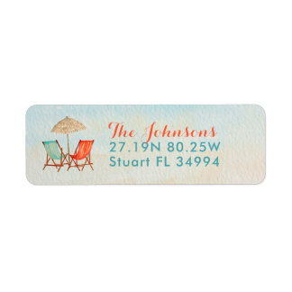 Tropical Holidays | Bright Colors Teal & Salmon Return Address Label