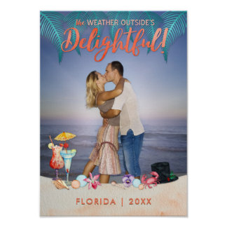 Tropical Holidays Christmas in Florida Photo Poster