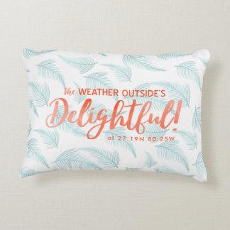 Tropical Holidays Photo | Latitude & Longitude Decorative Cushion