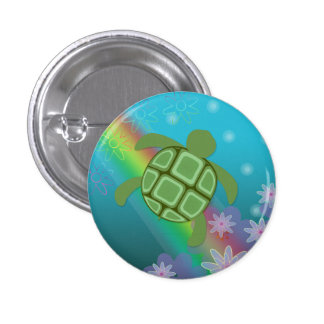 Tropical Honu Swimming with Flowers and Rainbow Pinback Button