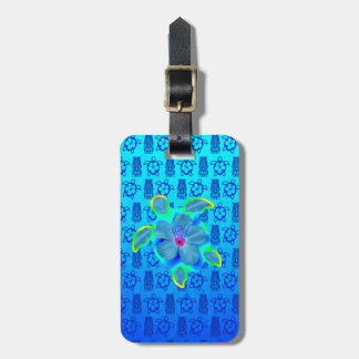 Tropical Honu Turtle and Hibiscus Luggage Tag