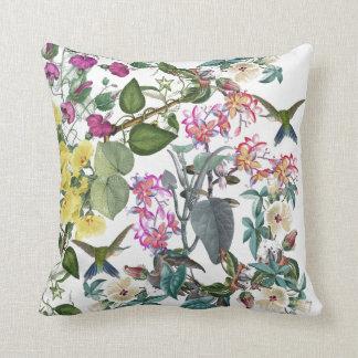 Tropical Hummingbird Birds Flowers Throw Pillow