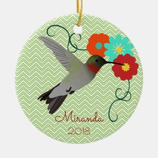 Tropical Hummingbird Personalised Ceramic Ornament