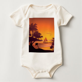Tropical Island at Sunset 2 Baby Bodysuit