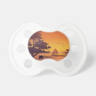 Tropical Island at Sunset 2 Baby Pacifiers