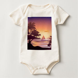 Tropical Island at Sunset Baby Bodysuit