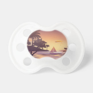 Tropical Island at Sunset Pacifiers