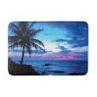 Tropical Island Beach Ocean Pink Blue Sunset Photo Bath Mat