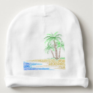 Tropical Island illustrated with cities of Florida Baby Beanie
