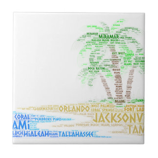 Tropical Island illustrated with cities of Florida Ceramic Tile