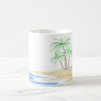 Tropical Island illustrated with cities of Florida Coffee Mug