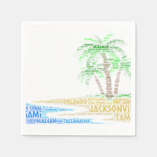 Tropical Island illustrated with cities of Florida Disposable Napkins