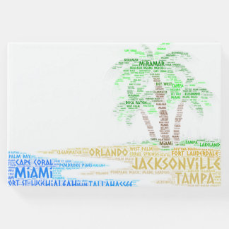 Tropical Island illustrated with cities of Florida Guest Book